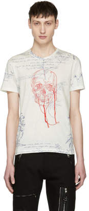 Alexander McQueen White Explorer and Skull Thread T-Shirt