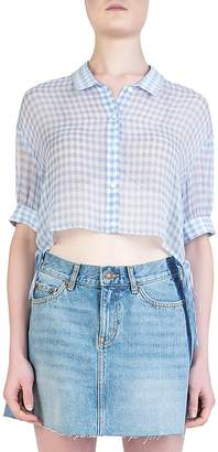 The Kooples Vichy Cropped Sheer Silk Gingham Shirt