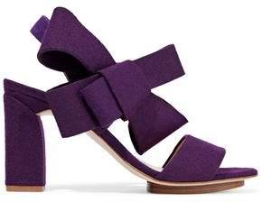 DELPOZO Bow-Embellished Felt Sandals