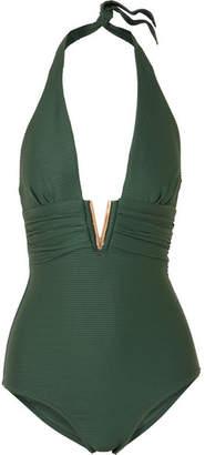 Heidi Klein Polynesia Embellished Ribbed Halterneck Swimsuit - Dark green