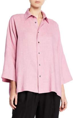 eskandar Italian Lightweight Linen Button-Front Shirt