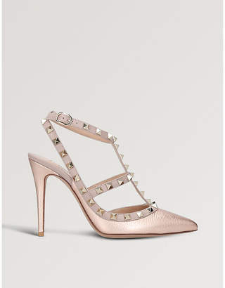 Valentino Rockstud 100 metallic-leather courts