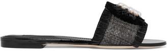 Dolce & Gabbana - Embellished Patent Leather-trimmed Raffia Slides - Black $875 thestylecure.com