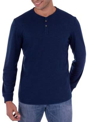George Men's Long Sleeve Soft Double Knit Henley T-Shirt, Up to Size 5XL
