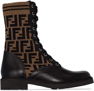 Fendi leather logo ankle boots