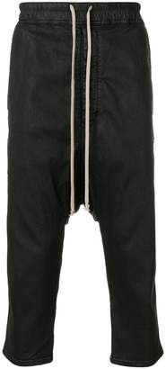 Rick Owens coated cropped drop-crotch trousers