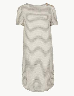 M&S Collection Pure Linen Striped Shift Mini Dress