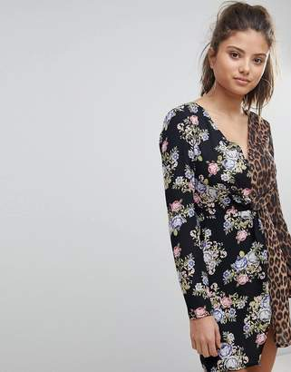 Missguided Floral And Leopard Print Plunge Neck Mini Dress