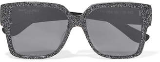 Saint Laurent Oversized Square-frame Glittered Acetate Sunglasses - Silver