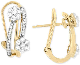 Wrapped In Love Diamond Cluster Hoop Earrings (3/4 ct. t.w.) in 14k Gold, Created for Macy's