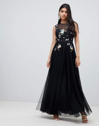 Little Mistress floral embellished bodice maxi dress in black