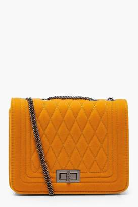 boohoo Suedette Quilted Cross Body Bag