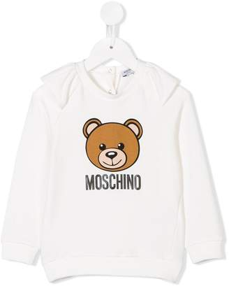 Moschino Kids bear print ruffled sweatshirt