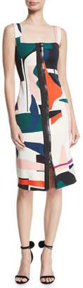 CUSHNIE Zip-Front Sleeveless Expressionist-Print Sheath Dress