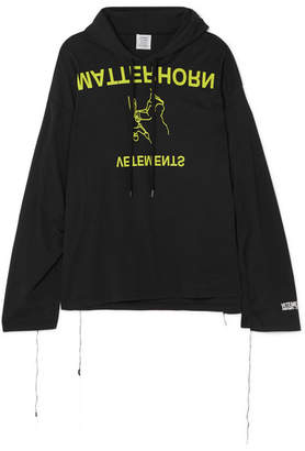 Vetements Printed Cotton-jersey Hooded Top - Black