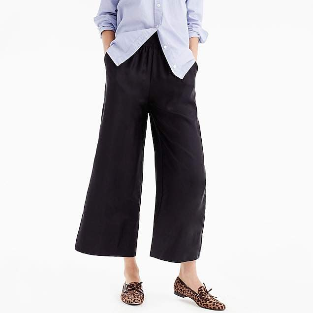 Cropped silk pull-on pant