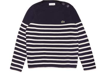 Lacoste Boys' Crew Neck Striped Milano Cotton Sweater