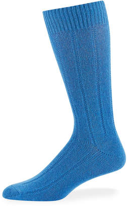 Neiman Marcus Men's Cashmere Dress Socks, Medium Blue