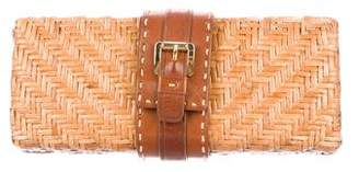 MICHAEL Michael Kors Leather-Trimmed Woven Straw Clutch