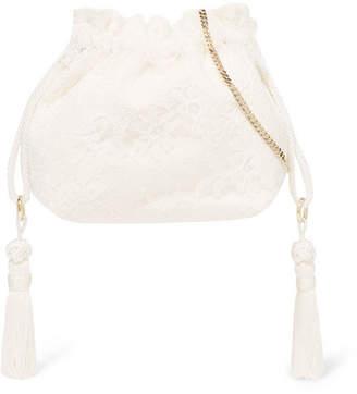 Etro Tasseled Lace And Silk-jacquard Bucket Bag - Ivory