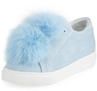 Neiman Marcus Here/Now Stella Denim Fur Pompom Sneakers