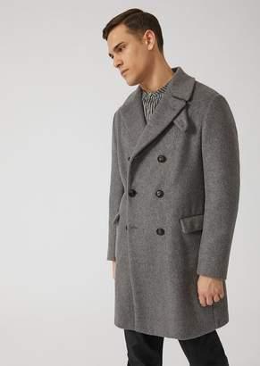 Emporio Armani Double-Breasted Coat In Alpaca Blend With Neck Guard