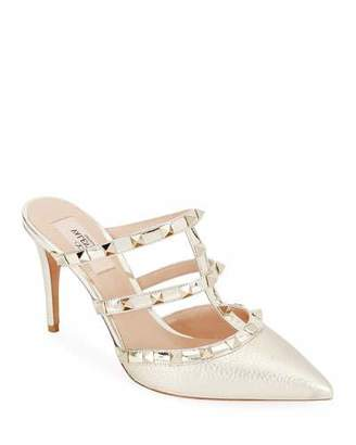 Valentino Rockstud Metallic Leather Mule Slide
