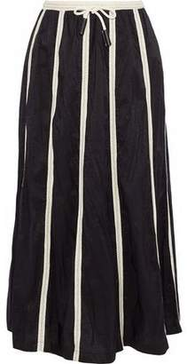 Derek Lam Canvas-Trimmed Crinkled Cotton-Blend Shell Midi Skirt