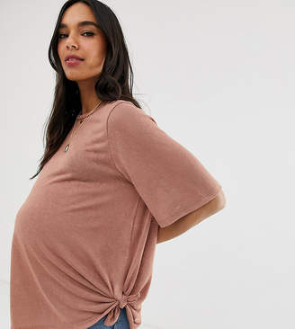Asos DESIGN Maternity relaxed t-shirt with knot side