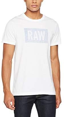 G Star Men's Crostan R T S/S T-Shirt, (White/Nassau Blue 1585), L