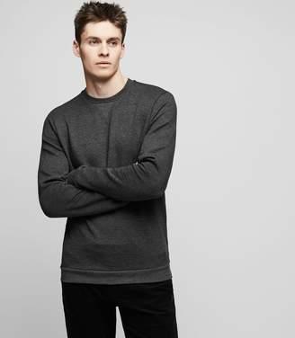 Reiss GRANGE Quilted crew-neck sweatshirt