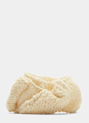 Flapper Alfa Braided Knit Headband in Cream