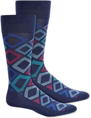 Perry Ellis Men Microfiber Diamond-Print Socks