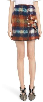 Toga Plaid Shaggy Wool & Mohair Blend Miniskirt