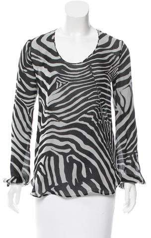 Tom Ford Silk Zebra Print Top