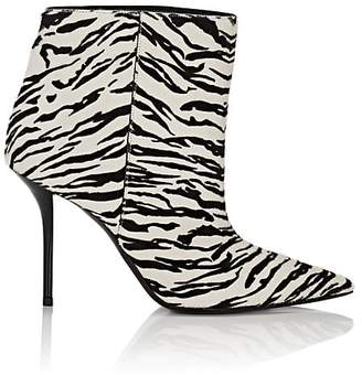 Saint Laurent Women's Pierre Zebra-Print Calf Hair Ankle Booties