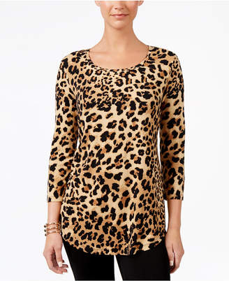 JM Collection Petite Printed 3/4 Sleeve Top