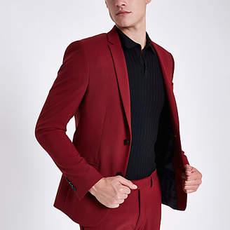River Island Red super skinny fit suit jacket