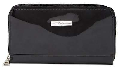 LONGCHAMP Roseau Box Zip Patent Leather Wallet