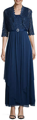 R & M Richards Sleeveless Belted Evening Gown-Petite