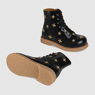 Gucci Children's bees and stars lace-up boot