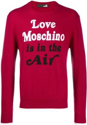 Love Moschino quote print sweater