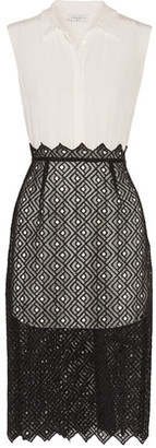 Sandro Ryo Layered Embroidered Washed-Silk Dress $570 thestylecure.com
