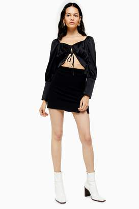 Topshop Womens Tall Black Ribbed Mini Skirt - Black