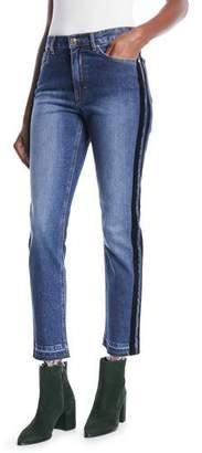Escada Sport Skinny Jeans w/ Velvet Stripe & Fringe Hem