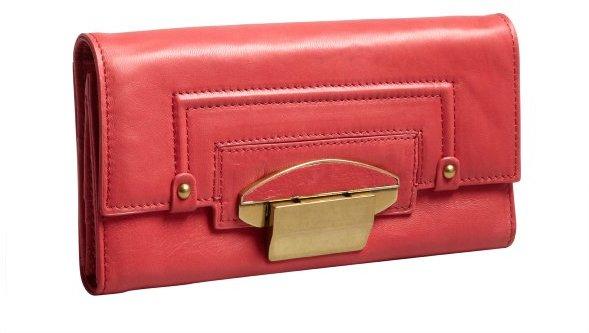 Kooba coral leather 'Turn Lock' wallet
