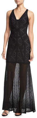 Herve Leger Sleeveless Lace V-Neck Gown