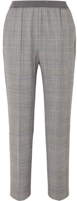 Agnona Prince Of Wales Checked Twill Straight-leg Pants - Gray