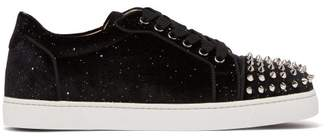 Christian Louboutin Vieira Spike Embellished Velvet Low Top Trainers - Womens - Black Multi