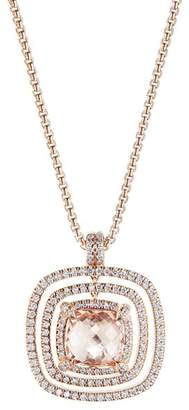 David Yurman Chatelaine Pavé Bezel Necklace in 18K Rose Gold with Morganite and Diamonds